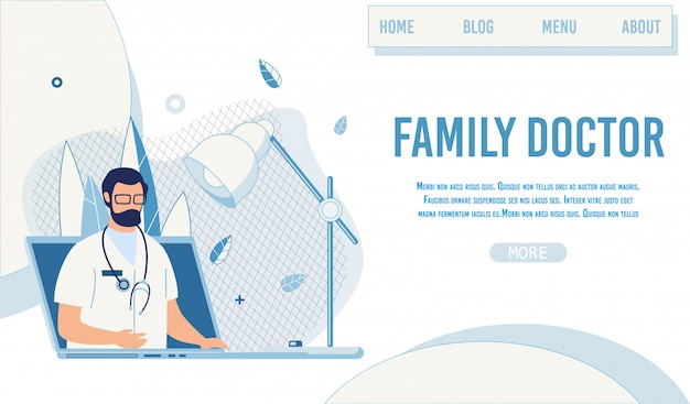 Landing page предложение семейный доктор онлайн сервис Premium векторы