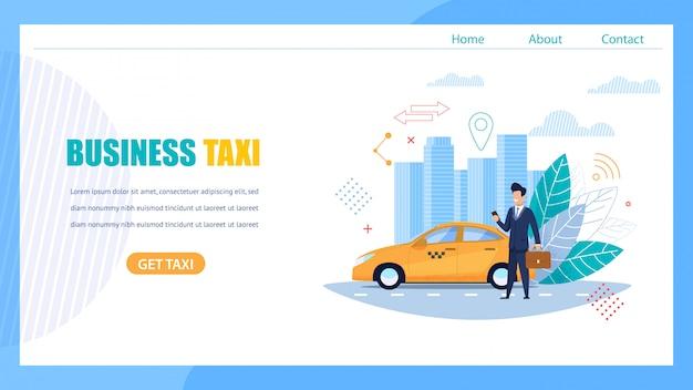 Бизнес такси landing page. человек ждет автомобиль. Premium векторы