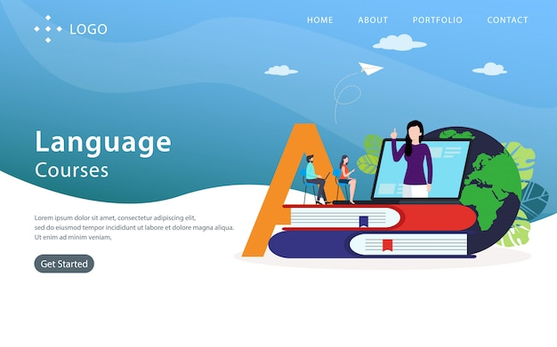 Языковые курсы landing page, шаблон сайта, легко редактировать и настраивать, векторные иллюстрации Premium векторы