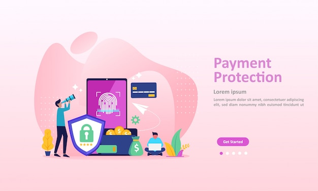 Концепция защиты платежей, гарантированная финансовая безопасность landing page Premium векторы