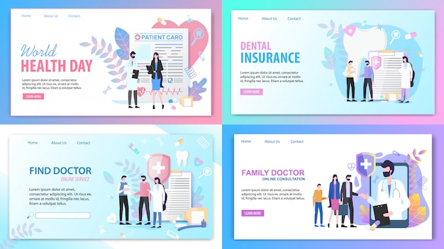 Landing pages. online consultation family find doctor service Premium Vector