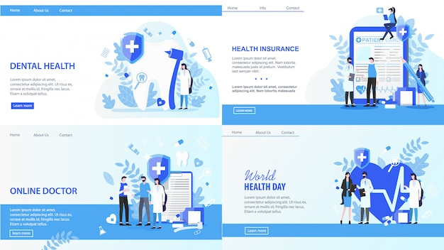 Landing pages. online doctor world health day dental insurance vector illustration. Premium Vector