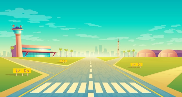 Landing strip for airplanes near of terminal, control room in tower. empty asphalt runway Free Vector
