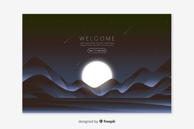 Landing webpage with gradient landscape Free Vector