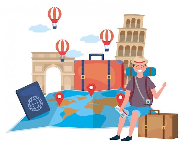 Landmark and travel icon set Premium Vector