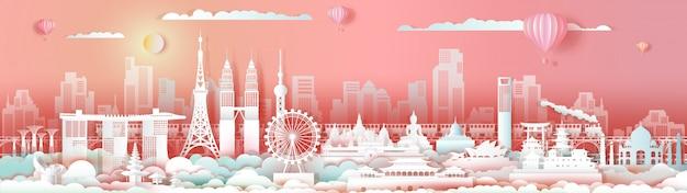 Landmarks asia travel downtown cityscape skyline. Premium Vector