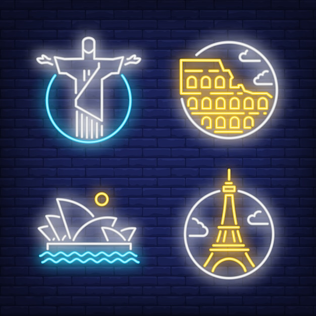 Landmarks neon sign set. christ the redeemer Free Vector