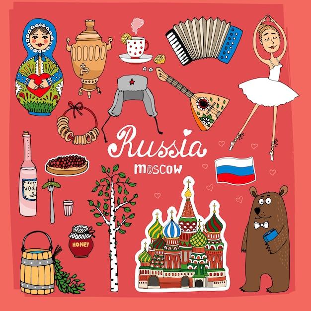 Landmarks of russia set Free Vector