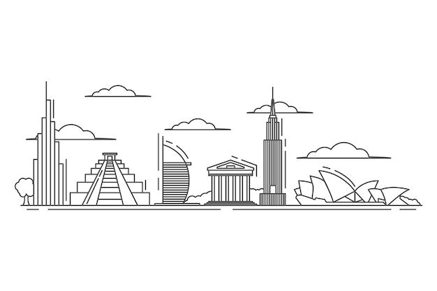 Достопримечательности горизонта в стиле структуры Бесплатные векторы