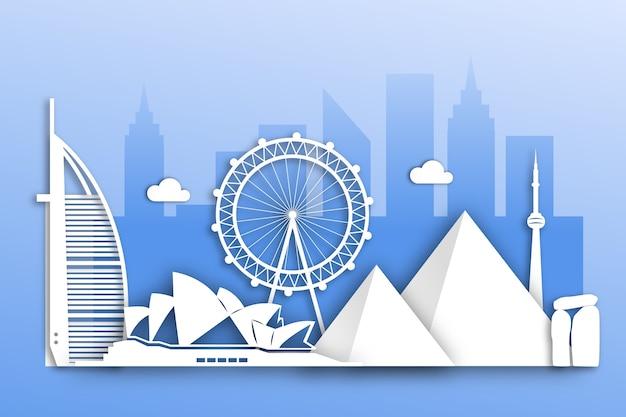 Landmarks skyline in paper design Free Vector