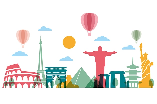 Landmarks skyline with clouds and balloons Free Vector