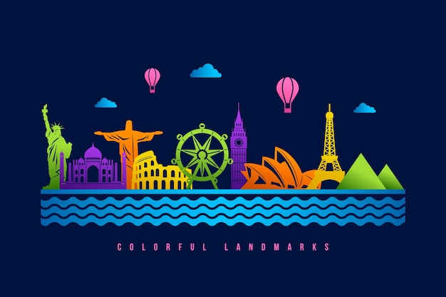 Landmarks skyline with colorful design Free Vector