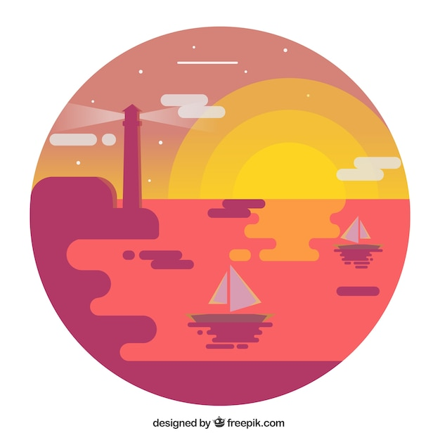 Landscape background at sunset with boats in\ flat design