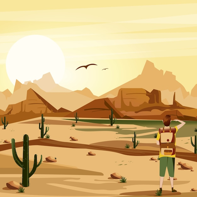 旅行者、サボテン、山や鳥のイラストが背景の砂漠を風景します。 Premiumベクター