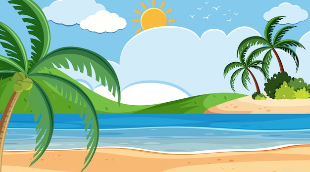 Landscape background design of seaside on sunny day Premium Vector