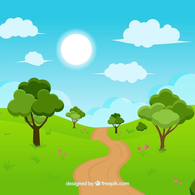 Landscape Illustration Vector Free: Landscape Background Design Vector
