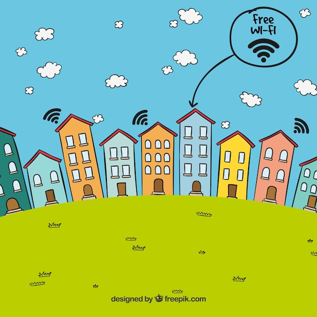 Landscape background of houses with free wifi Free Vector