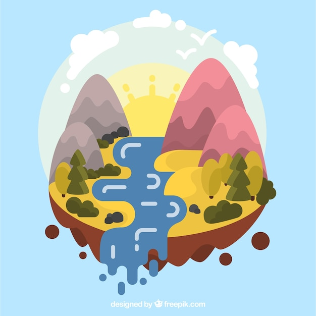 Landscape background of mountains and river in\ flat design