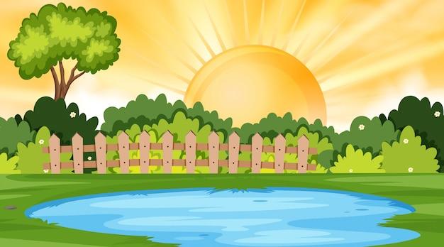 Landscape background  of park at sunset Premium Vector