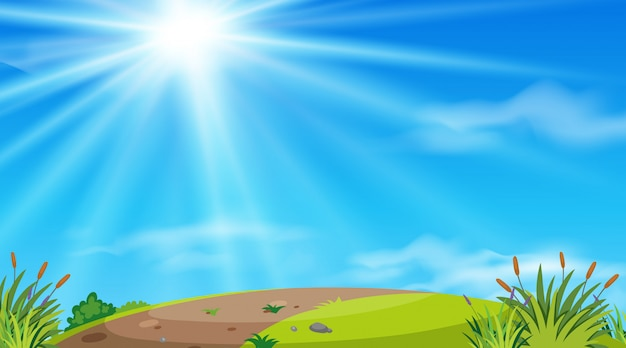 Landscape background of road on hill Premium Vector