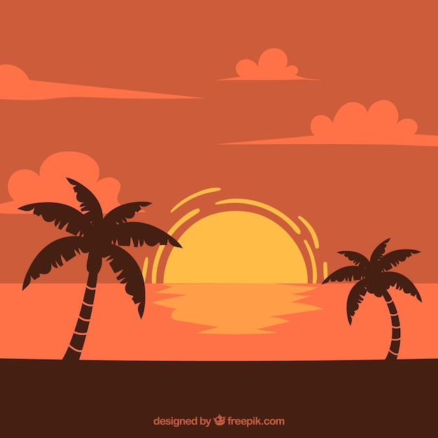 Landscape background at sunset with palm trees Free Vector