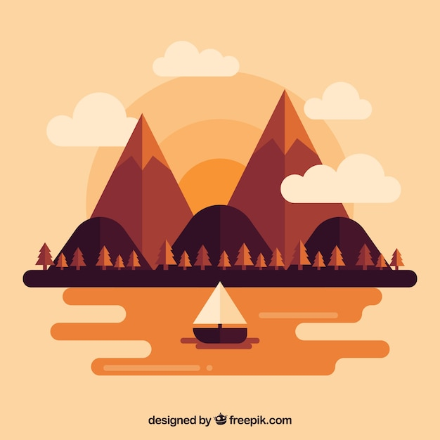 Landscape background with a boat at sunset in\ flat design