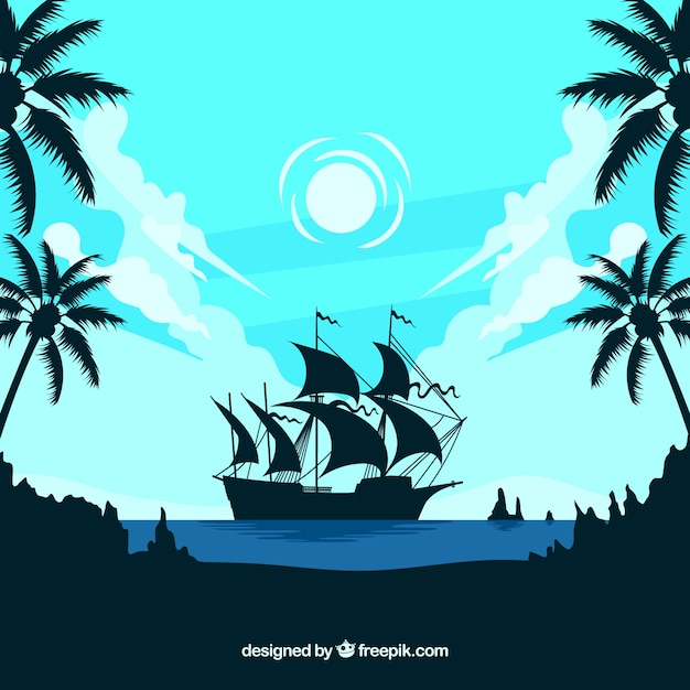 Landscape background with boat\ silhouette