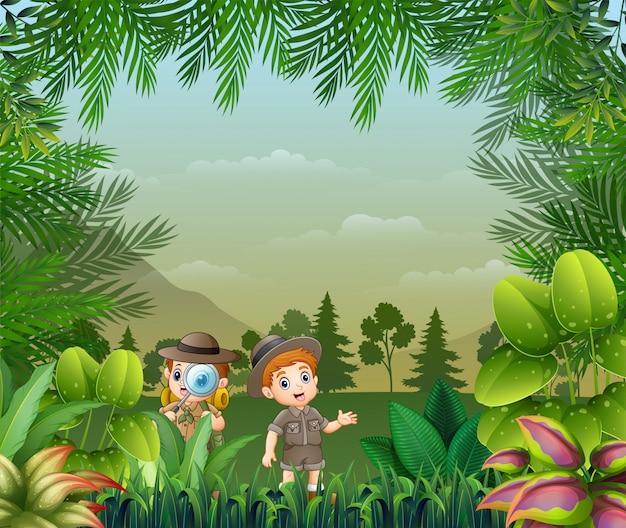 Landscape background with the explorer kids Premium Vector