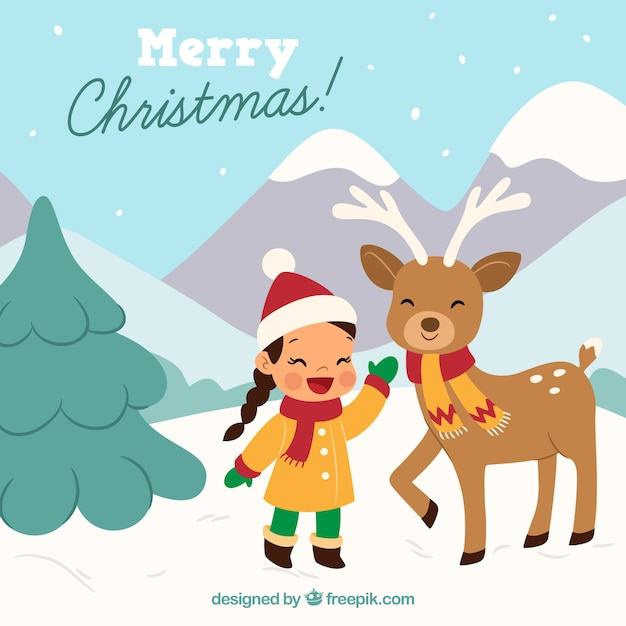 Landscape background with girl and reindeer Free Vector