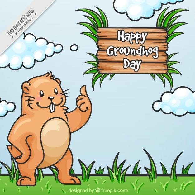 Landscape background with hand drawn happy\ marmot
