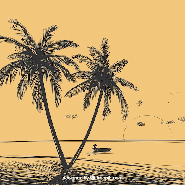 Landscape background with hand drawn palm\ trees