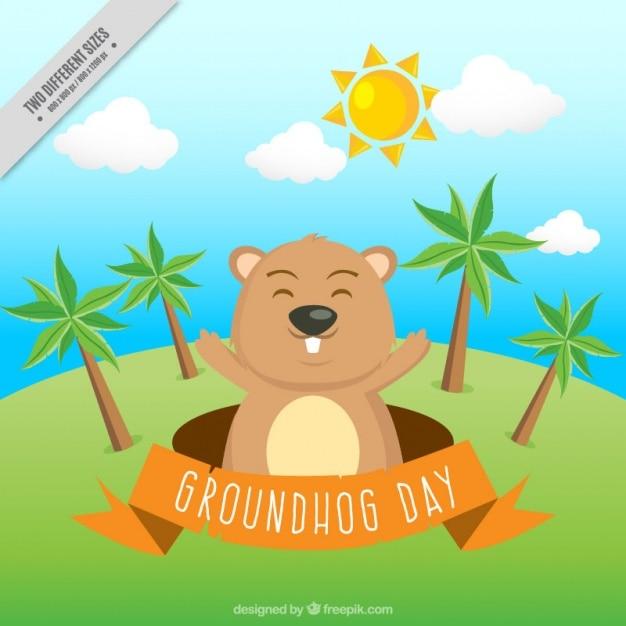 Landscape background with happy\ groundhog