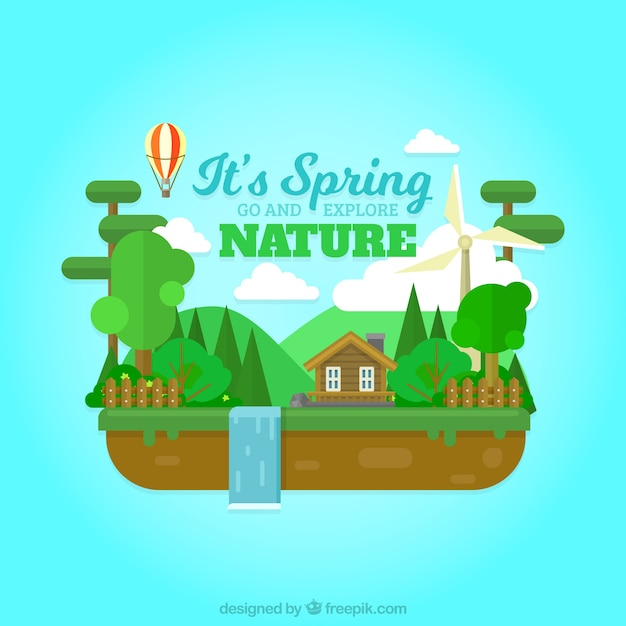 Landscape background with house and waterfall\ in flat design