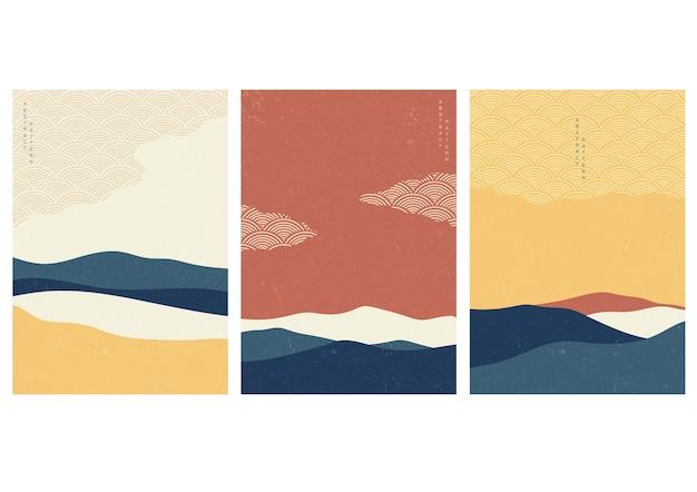 일본 웨이브 패턴으로 풍경 배경입니다. 기하학적 패턴으로 추상 템플릿입니다. 아시아 스타일의 산 레이아웃 디자인. 프리미엄 벡터