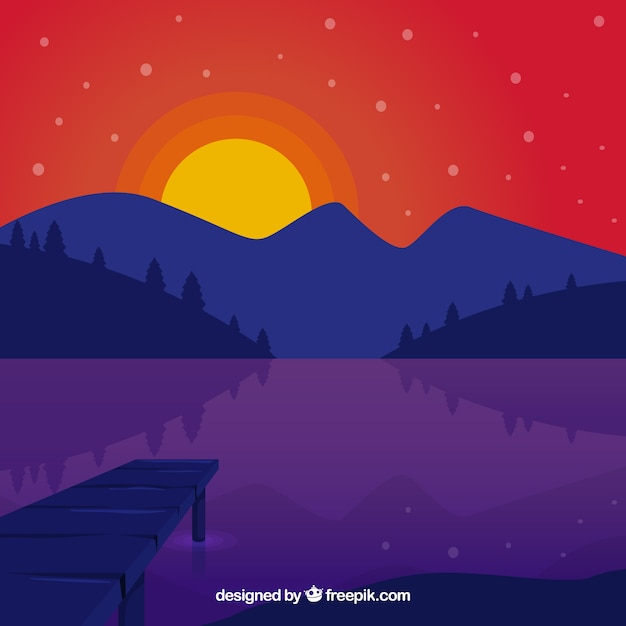 Landscape background with lake at sunset
