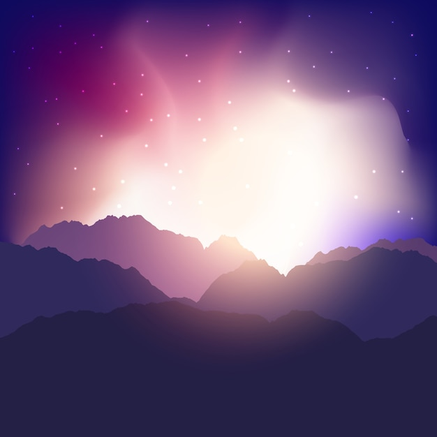 Landscape background with mountains against a\ sunset sky