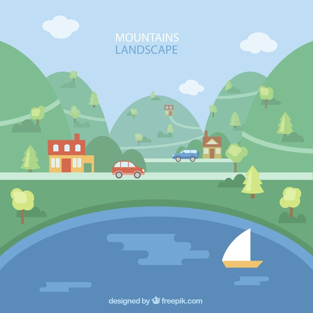 Landscape background with mountains and river\ in flat design