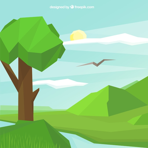 Landscape background with river and tree in\ polygonal style