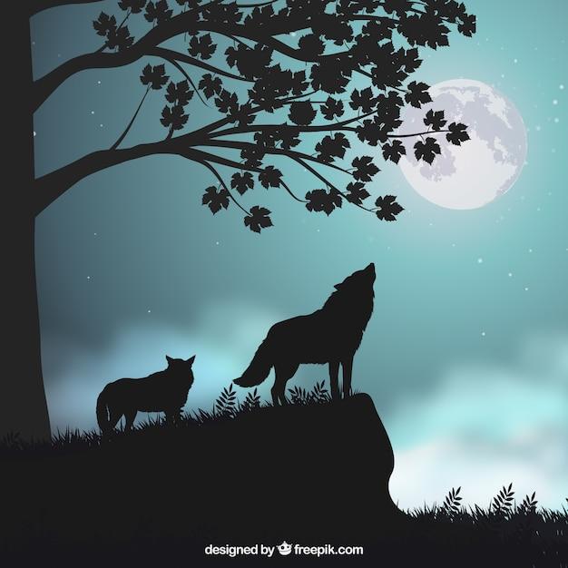 オオカミのシルエットと風景の背景 無料ベクター
