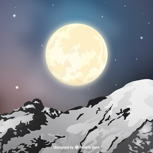 Landscape background with snowy mountain and\ moon