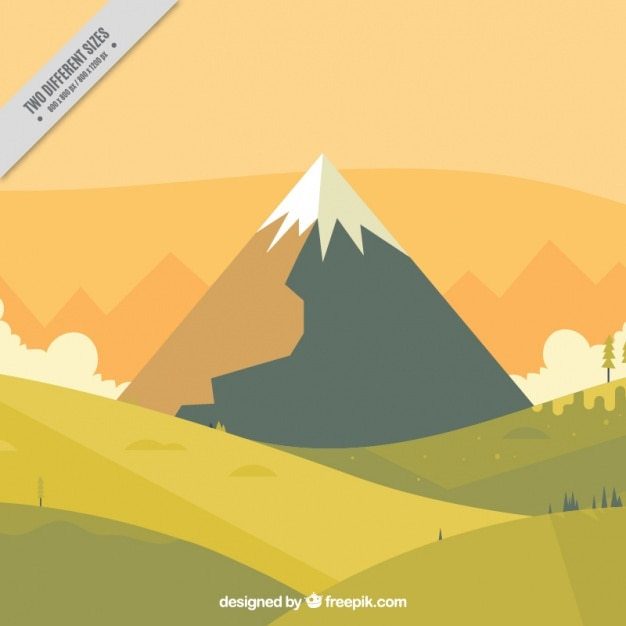 Landscape background with snowy mountain in\ flat design