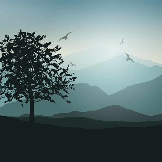 Landscape background with trees and birds Free Vector