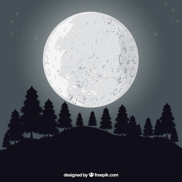 Landscape background with trees and moon Free Vector