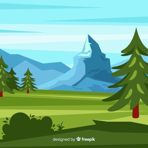 木と山の風景の背景 無料ベクター