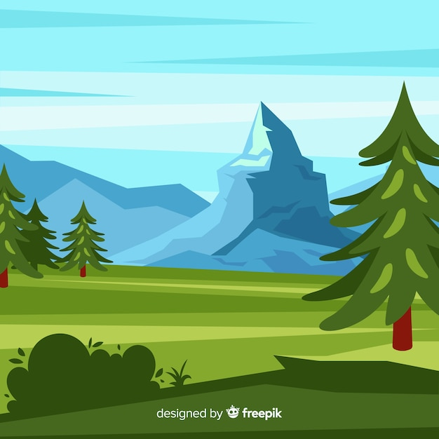 Landscape background with trees and mountains Free Vector