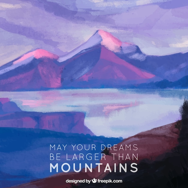 Landscape background with watercolor lake and\ inspiring message