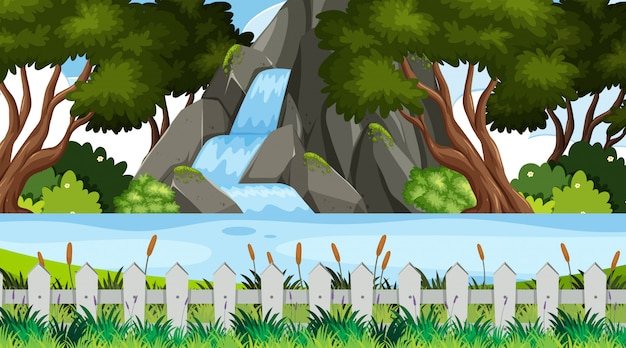 Landscape background  with waterfall in park Premium Vector