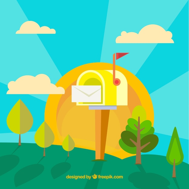 Landscape background with yellow mailbox in flat design Free Vector