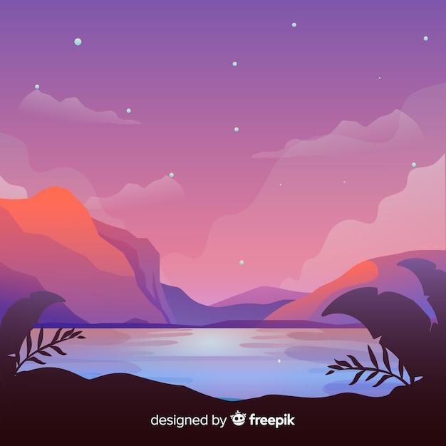 Landscape background Free Vector