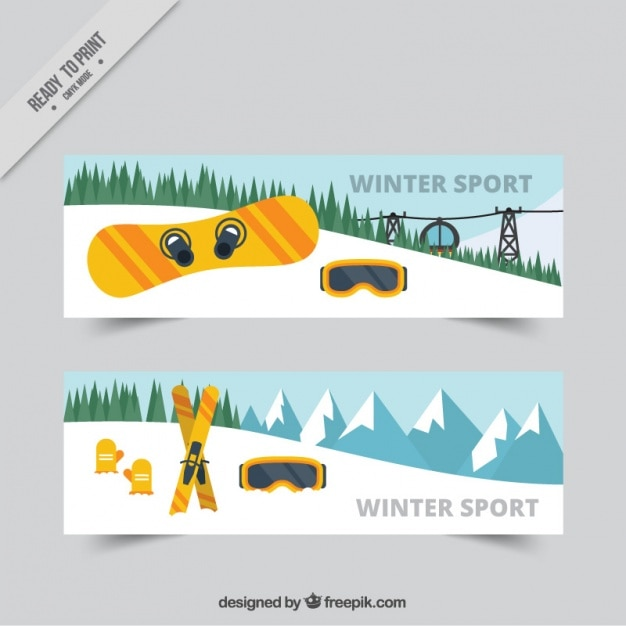 Landscape banners and winter sports\ objects